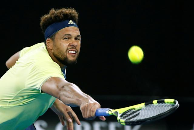 FILE PHOTO: France's Jo-Wilfried Tsonga in action during his Australian Open match against Nick Kyrgios. REUTERS/Thomas Peter/File Photo