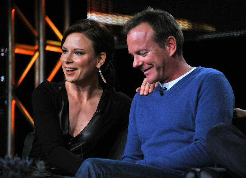 """Mary Lynn Rajskub, left, and Kiefer Sutherland take part on the panel for """"24: Live Another Day"""" at the FOX Winter 2014 TCA, on Monday, Jan. 13, 2014, at the Langham Hotel in Pasadena, Calif. (Photo by Richard Shotwell/Invision/AP)"""