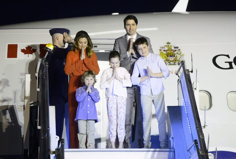<p>Prime Minister Justin Trudeau joins his wife, Sophie Grégoire Trudeau, and children, Xavier, 10, Ella-Grace, 9, and Hadrien, 3, arrive in New Delhi, India, on Feb. 17, 2018. Photo from The Canadian Press. </p>