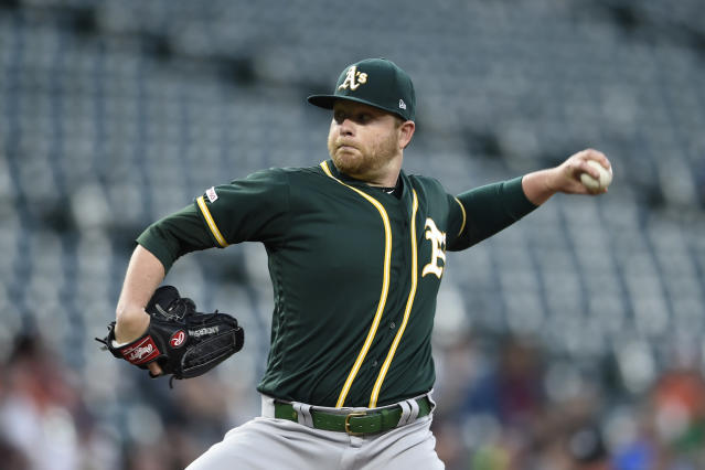 Oakland Athletics pitcher Brett Anderson delivers against the Baltimore Orioles in the first inning of a baseball game, Tuesday, April 9, 2019, in Baltimore. (AP Photo/Gail Burton)