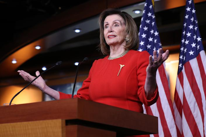 Speaker of the House Nancy Pelosi holds her weekly news conference on Thursday. (Photo: Chip Somodevilla/Getty Images)
