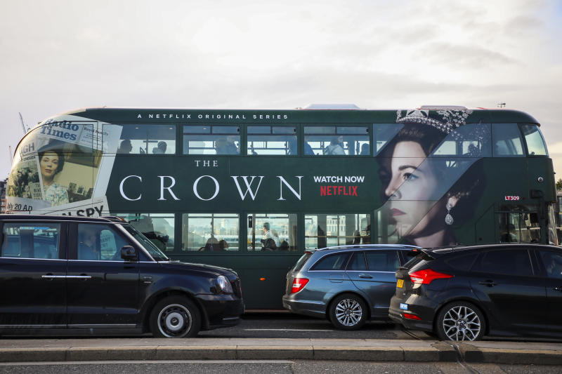 A double-decker bus advertises a new season of Netflix 'The Crown' series in London, United Kingdom on 11 December, 2019. (Photo by Beata Zawrzel/NurPhoto via Getty Images)