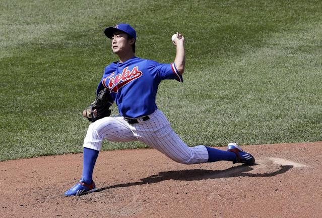 Chicago Cubs starter Tsuyoshi Wada, of Japan, throws against the Baltimore Orioles during the sixth inning of an interleague baseball game in Chicago, Sunday, Aug. 24, 2014. (AP Photo/Nam Y. Huh)