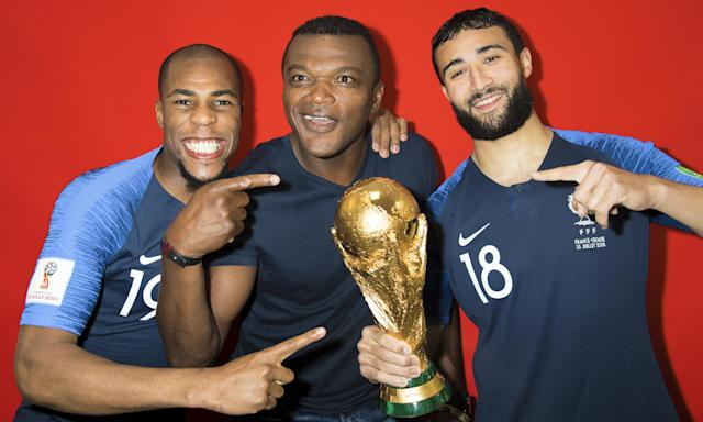 Marcel Desailly celebrates France's second World Cup triumph with Djibril Sidibé (left) and Nabil Fekir (right), 20 years after he helped inspire the nation's first.