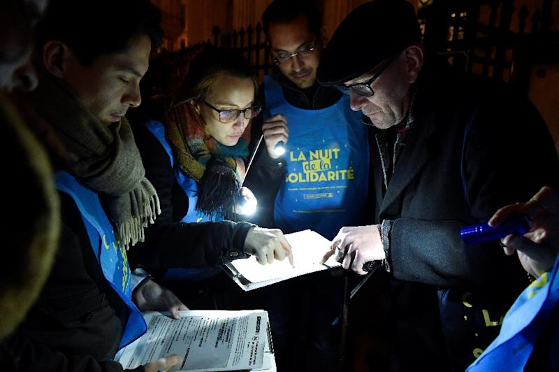 Some 1,700 Parisians volunteered to help count the homeless on Thursday night (AFP Photo/GERARD JULIEN )