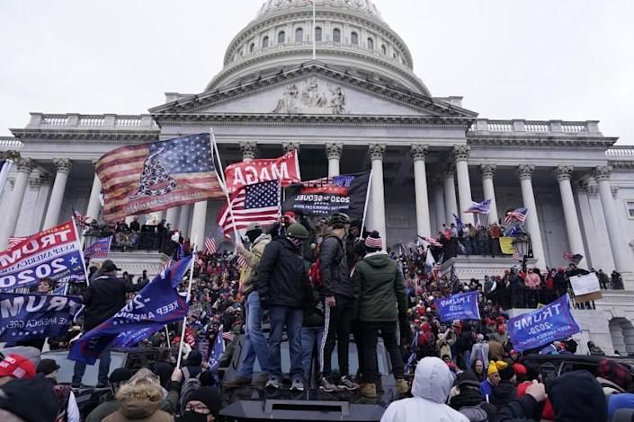 Protesters gather in front of the Capital building on the second day of pro-Trump events