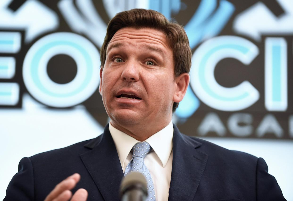 Florida Gov. Ron DeSantis speaks during a press conference before newly appointed state Surgeon General Dr. Joseph Ladapo at Neo City Academy in Kissimmee, Florida. (Paul Hennessy/SOPA Images/LightRocket via Getty Images)