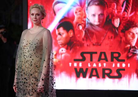 Actor Gwendoline Christie poses for photographers as she arrives for the European Premiere of 'Star Wars: The Last Jedi', at the Royal Albert Hall in central London, Britain December 12, 2017. REUTERS/Hannah McKay