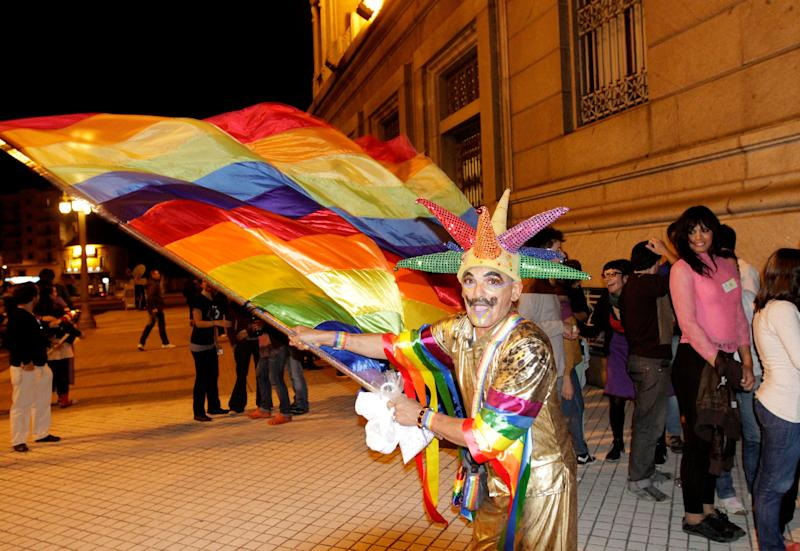 A man celebrates outside the Congress building after Uruguay's Congress passed a bill to allow same-sex marriages, making it the second country in predominantly Roman Catholic Latin America to do so April 10, 2013. Seventy-one of 92 lawmakers in the lower house of Congress voted in favor of the proposal, one week after the Senate passed it by a wide majority. Leftist President Jose Mujica, a former guerrilla fighter, is expected to sign the bill into law. REUTERS/Andres Stapff (URUGUAY)