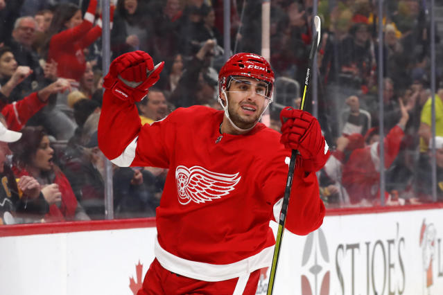 Detroit Red Wings center Robby Fabbri celebrates his goal against the Pittsburgh Penguins in the second period of an NHL hockey game Saturday, Dec. 7, 2019, in Detroit. (AP Photo/Paul Sancya)