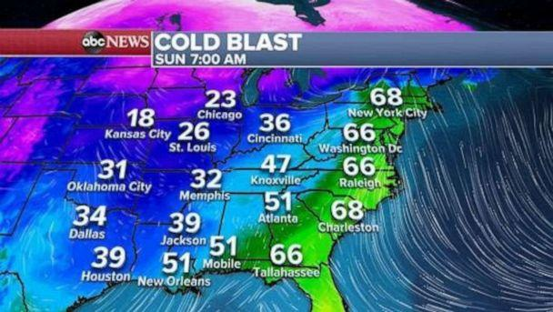 PHOTO: Over the next 24 hours we should see a drastic temperature drop in parts of the country. While temperatures are in the mid 60's this morning in New York City, they will drop to the mid 30's by this time tomorrow. (ABC News)
