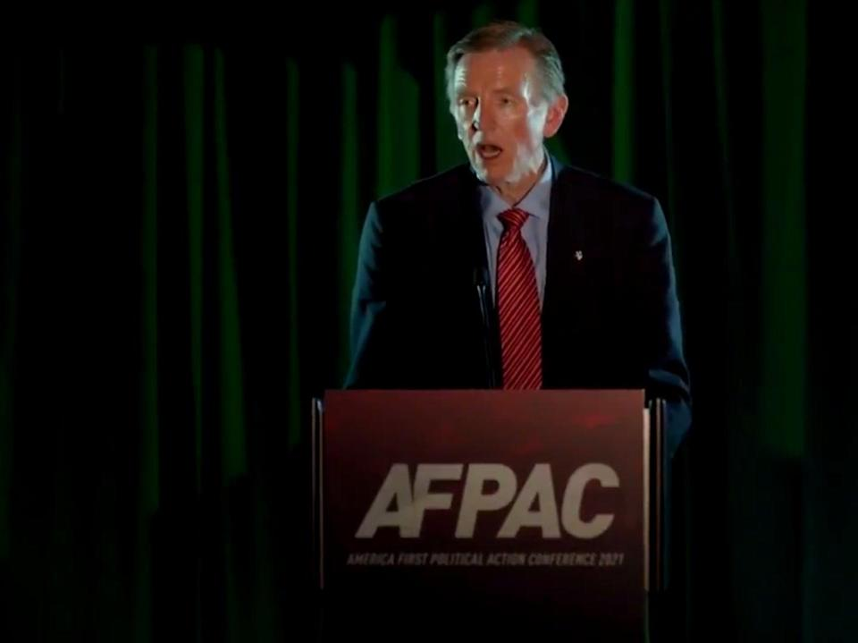 <p>Republican congressman Paul Gosar appearing at AFPAC on Friday</p> (@amfirstreels / Twitter)