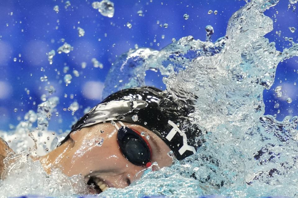Katie Ledecky participates in the women's 800 freestyle during wave 2 of the U.S. Olympic Swim Trials on Saturday, June 19, 2021, in Omaha, Neb. (AP Photo/Charlie Neibergall)