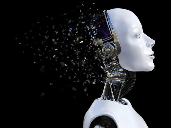 A human-looking robot's brain shatters.