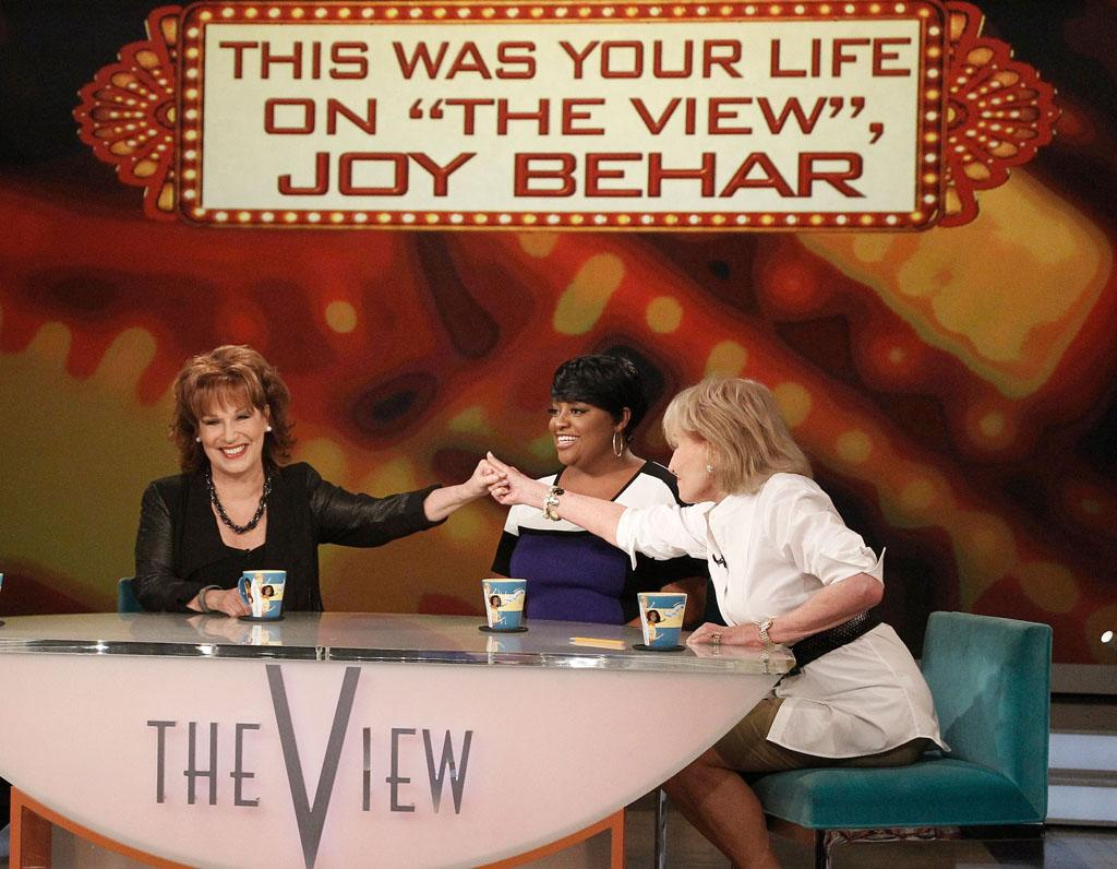 "Joy Behar, Sherri Shepherd, and Barbara Walters on Joy's final episode as co-host of ABC's ""The View"" on Friday, August 9, 2013."