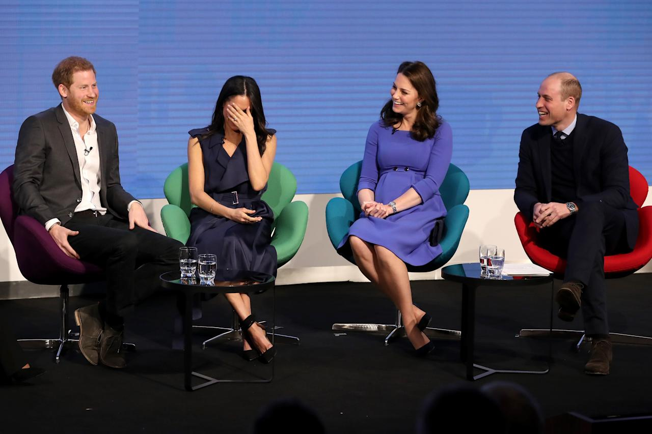 <p>Prince Harry, Meghan Markle and the Duke and Duchess of Cambridge at the first Royal Foundation forum (Getty) </p>