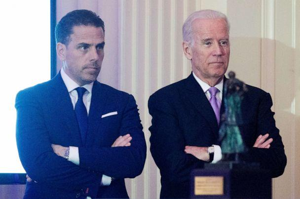 PHOTO: WFP USA Board Chair Hunter Biden stands next to his father, former Vice President Joe Biden during an event on April 12, 2016 in Washington, D.C. (Getty Images, FILE)