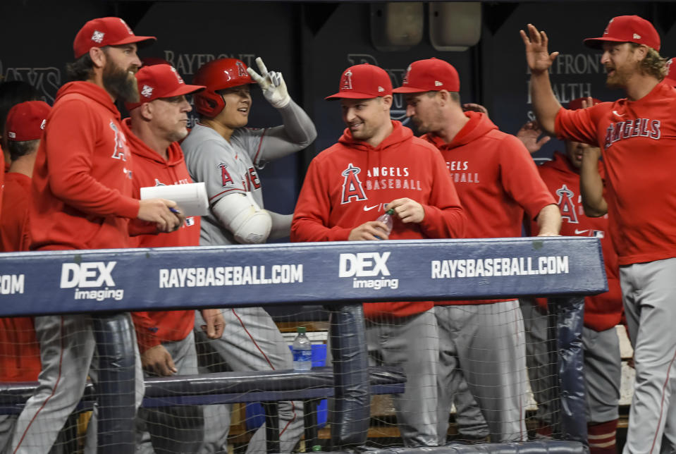 Los Angeles Angels teammates congratulate Shohei Ohtani, center, in the dugout after his solo home run during the first inning of a baseball game against the Tampa Bay Rays, Friday, June 25, 2021, in St. Petersburg, Fla. (AP Photo/Steve Nesius)