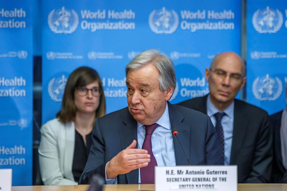 U.N. Secretary General, Antonio Guterres speaks during an update on the situation regarding the COVID-19 (previously named novel coronavirus) at the World Health Organization (WHO) headquarters in Geneva, Switzerland, February 24, 2020. Salvatore Di Nolfi/Pool via REUTERS