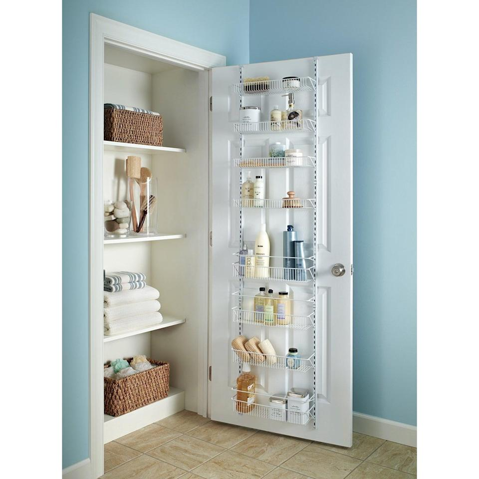 <p>Create extra storage in your closets with this <span>Closetmaid 8-Tier Wire Wall and Door Rack, White</span> ($40). It works great in your bathroom, pantry, and closet.</p>