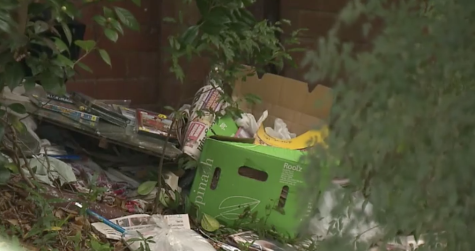 Rubbish outside of Bruce Roberts' Greenwich home.
