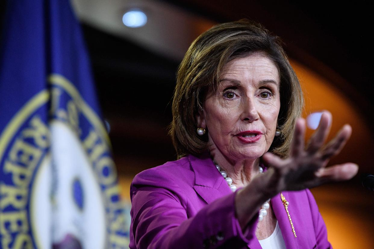 US Speaker of the House, Nancy Pelosi, Democrat of California, holds her weekly press briefing on Capitol Hill in Washington, DC, on July 28, 2021. (Photo by Nicholas Kamm / AFP) (Photo by NICHOLAS KAMM/AFP via Getty Images)