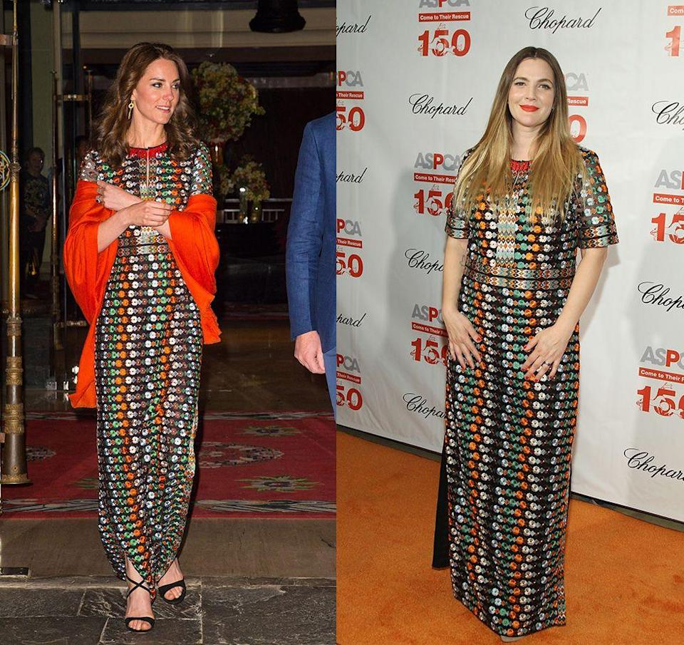 <p>The multi-coloured Tory Burch gown paired perfectly with the Duchess of Cambridge's bright orange shawl at a dinner during her Bhutan royal visit in 2016. Drew Barrymore styled the same dress with a bright red lip for the ASPCA Bergh Ball in 2016.</p>