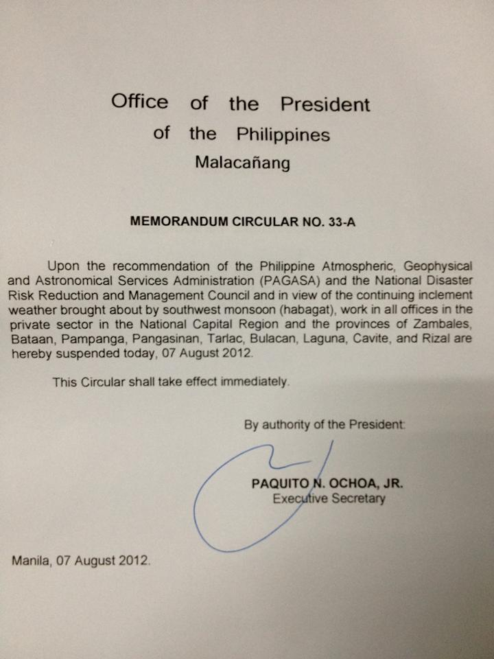 Here is Palace's Memorandum on suspension of work in private companies in NCR and some provinces.