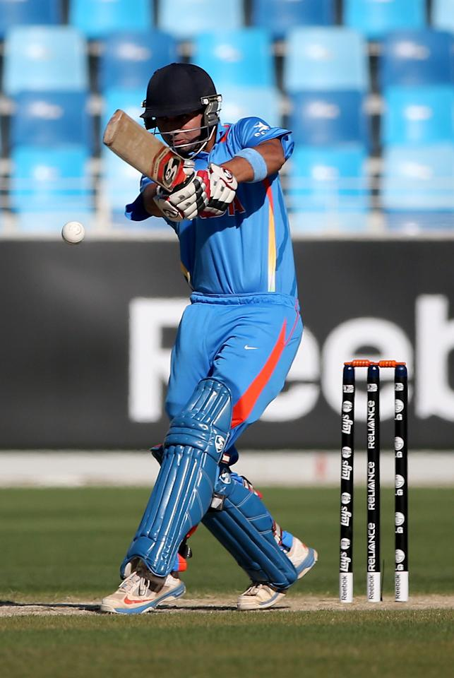 DUBAI, UNITED ARAB EMIRATES - FEBRUARY 15:  Ankush Bains of India bats during the ICC U19 Cricket World Cup 2014 match between India and Pakistan at the Dubai Sports City Cricket Stadium on February 15, 2014 in Dubai, United Arab Emirates.  (Photo by Francois Nel - IDI/IDI via Getty Images)