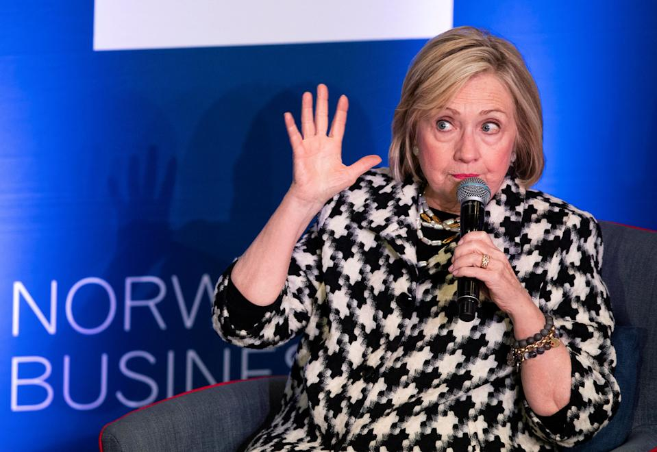 Former Secretary of State Hillary Rodham Clinton attends an international conference focusing on gender equality at BI Norwegian Business School in Oslo, Norway, on March 8, 2019. (Photo: NTB Scanpix/Berit Roald via Reuters)