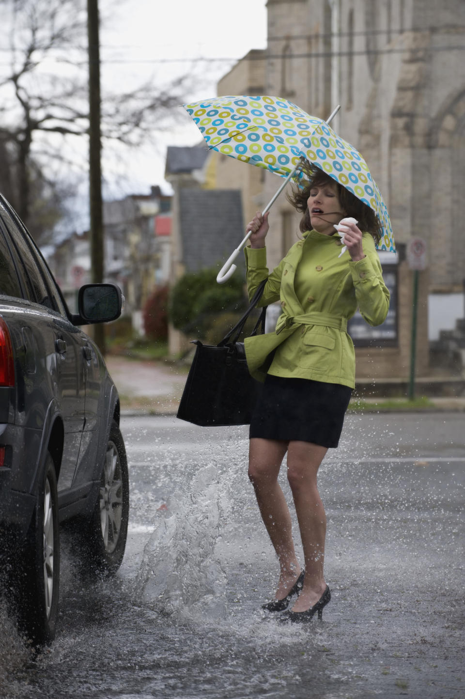 Woman splashed by car. Source: Getty Images