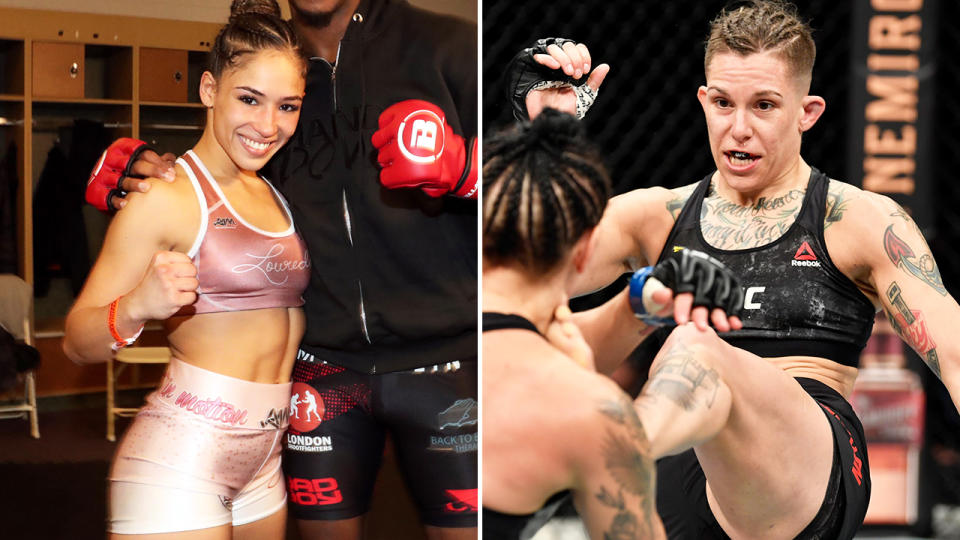 Valerie Loureda and Macy Chiasson, pictured here in Bellator and UFC.