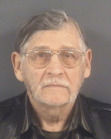 John Franklin McGraw of Linden, North Carolina, is shown in this booking photo provided by the Cumberland County Sheriff's Office in Fayetteville, North Carolina, March 10, 2016. McGraw, is facing criminal charges after police say he assaulted a protester being removed from a rally for Republican presidential candidate Donald Trump, local media reported on Thursday.  REUTERS/Cumberland County Sheriff's Office/Handout via Reuters