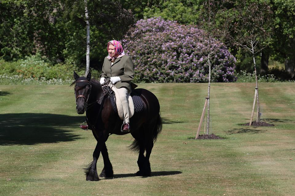 The Queen still rides horses regularly, as here in May 2020, in lockdown in Windsor. (WPA Pool)