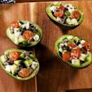"""<p>When we're looking for something light yet satisfying, we tend to turn to a classic <a href=""""https://www.delish.com/uk/cooking/recipes/a28839760/best-greek-salad-recipe/"""" rel=""""nofollow noopener"""" target=""""_blank"""" data-ylk=""""slk:Greek salad"""" class=""""link rapid-noclick-resp"""">Greek salad</a>. These stuffed avocados make the classic salad a little more hearty, as well as perfectly portable. They make the BEST take-to-work lunch, just make sure to squeeze a lemon over the cut avocados to prevent browning. </p><p>Get the <a href=""""https://www.delish.com/uk/cooking/recipes/a30323665/greek-stuffed-avocado-recipe/"""" rel=""""nofollow noopener"""" target=""""_blank"""" data-ylk=""""slk:Greek Stuffed Avocado"""" class=""""link rapid-noclick-resp"""">Greek Stuffed Avocado</a> recipe.</p>"""
