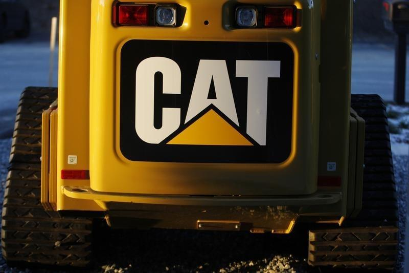 The CAT logo is seen on the back of a Caterpillar machine on a lot at Milton CAT in North Reading, Massachusetts