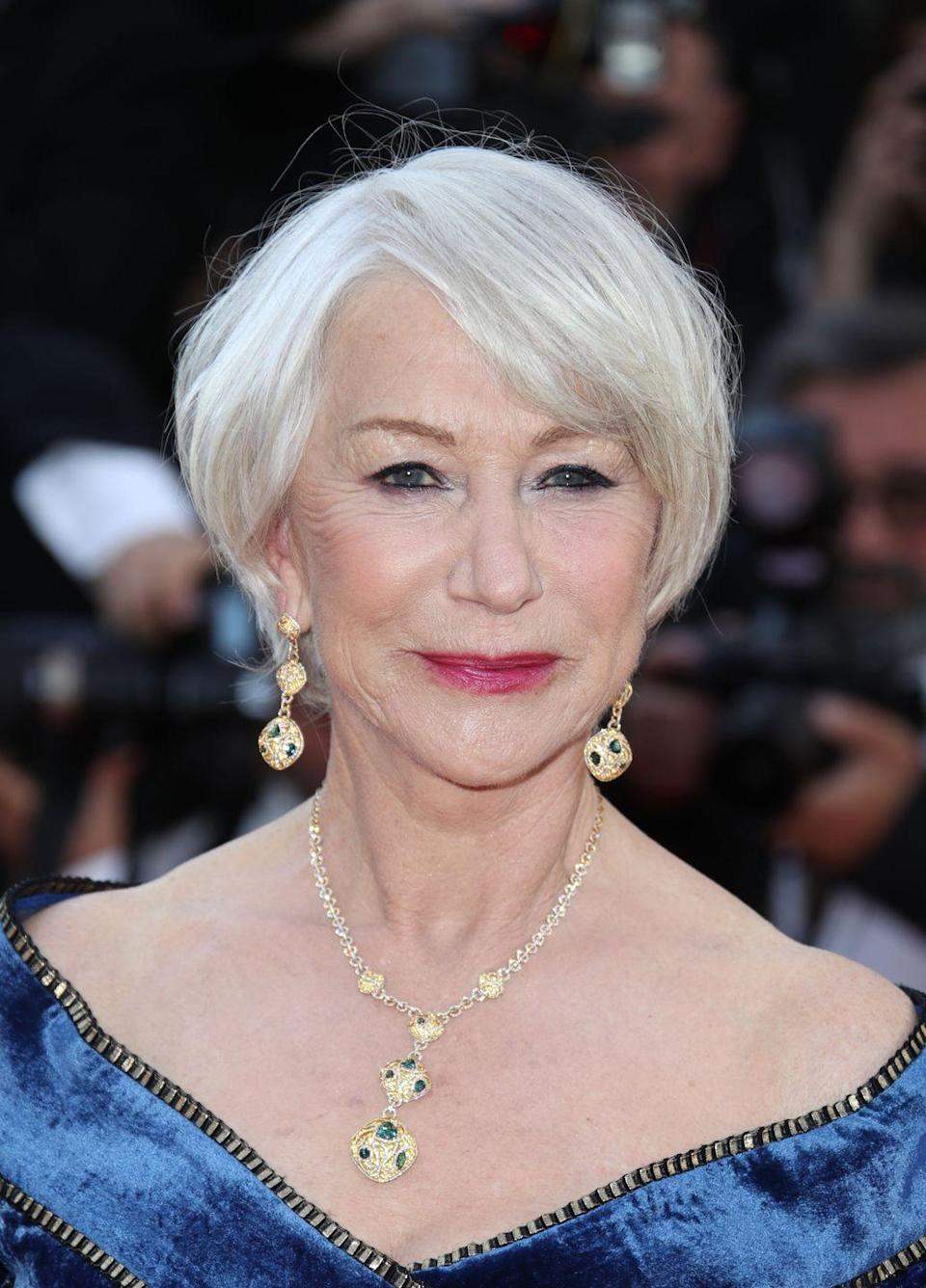 """<p>One of Pinterest's trending terms is """"going gray."""" If you're thinking about letting nature run its course like <strong>Helen Mirren</strong>, now's the time — women are actually <em>dyeing </em>their hair gray. Like with platinum blonde hair, be sure to eliminate any brass or yellow tones by using a purple shampoo like <strong><a href=""""https://www.amazon.com/Clairol-Professional-Shimmer-Lights-Shampoo/dp/B000TBVGBM?tag=syn-yahoo-20&ascsubtag=%5Bartid%7C10055.g.3027%5Bsrc%7Cyahoo-us"""" rel=""""nofollow noopener"""" target=""""_blank"""" data-ylk=""""slk:Clairol Shimmer Lights"""" class=""""link rapid-noclick-resp"""">Clairol Shimmer Lights</a></strong> a few times a week. </p>"""