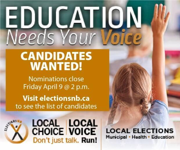 Elections NB advertised for candidates to run in the upcoming district education council elections on social media and in print media, said Poffenroth.