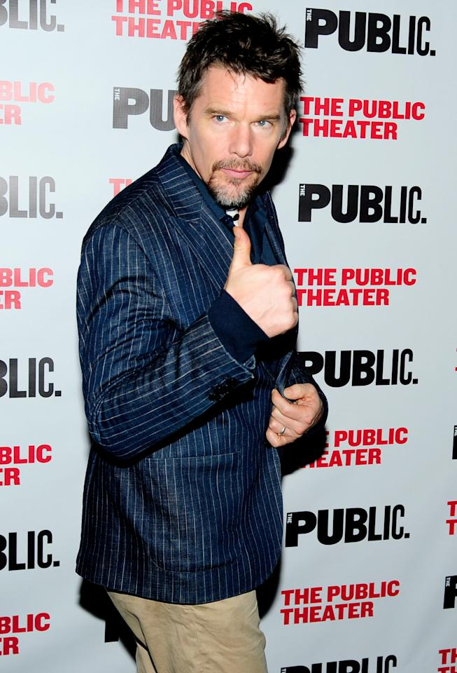 <p>Ethan Hawke shows his approval while attending the <i>Latin History for Morons</i> Opening Night Celebration at New York City's Public Theater on Monday.</p>