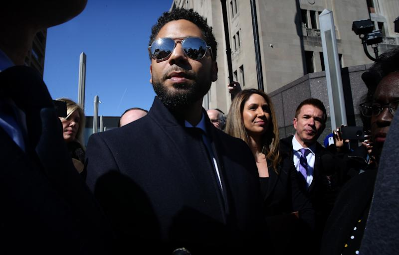 Actor Jussie Smollett leaves the Leighton Criminal Court building, after all charges were dropped in his disorderly conduct case on March 26, 2019. (Antonio Perez/ Chicago Tribune/TNS via Getty Images)