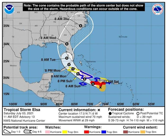 The National Hurricane Center in its latest forecast said Tropical Storm Elsa could impact parts of the Caribbean and Florida.