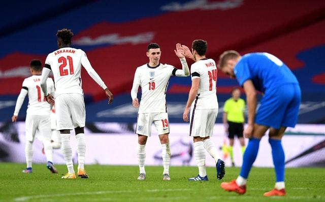 Phil Foden (centre) produced positive headlines with his display against Iceland