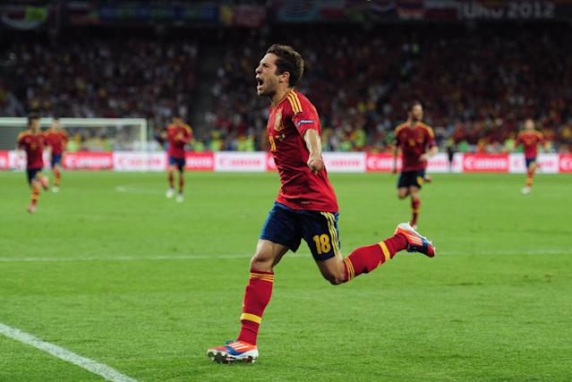 KIEV, UKRAINE - JULY 01: Jordi Alba of Spain celebrates scoring their second goal during the UEFA EURO 2012 final match between Spain and Italy at the Olympic Stadium on July 1, 2012 in Kiev, Ukraine. (Photo by Shaun Botterill/Getty Images)