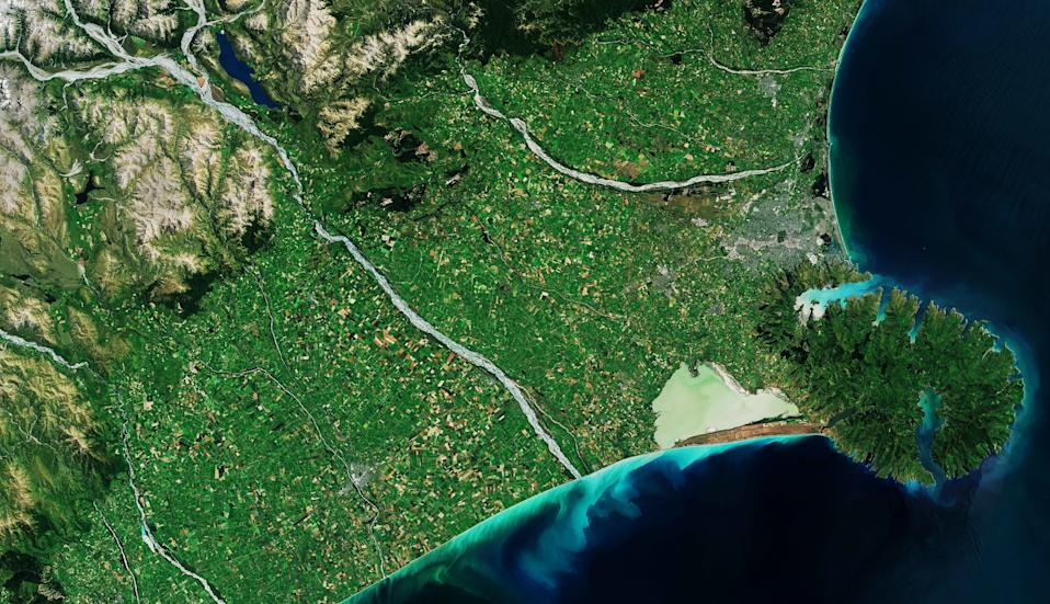 The Banks Peninsula on the South Island of New Zealand shows off its striking colors in this stunning image taken from space. This image was taken by the Copernicus Sentinel-2 mission, which is made up of two satellites that orbit our planet, scouring its surface collecting data and paying close attention to bodies of water and how they change over time.
