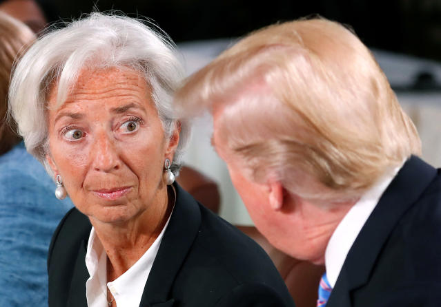 <p>President Donald Trump and Managing Director of the International Monetary Fund Christine Lagarde chat while they attend a G7 and Gender Equality Advisory Council meeting as part of a G7 summit in the Charlevoix city of La Malbaie, Quebec, Canada, June 9, 2018. (Photo: Yves Herman/Reuters) </p>