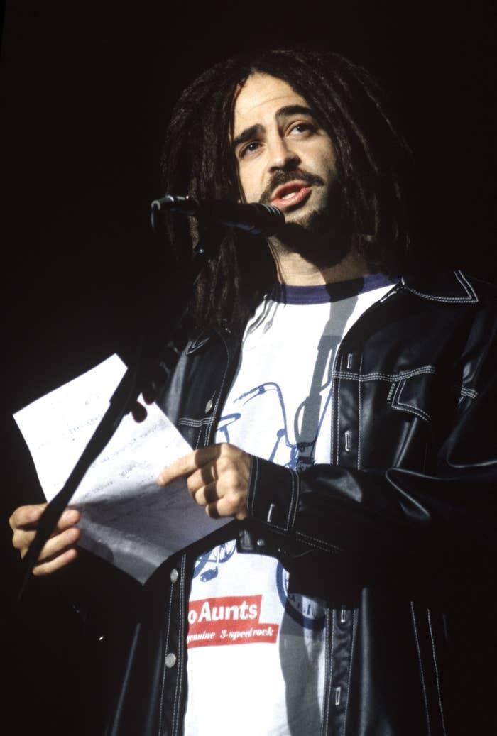 Adam Duritz of Counting Crows performs at Shoreline Amphitheatre on October 2, 1997 in Mountain View, California