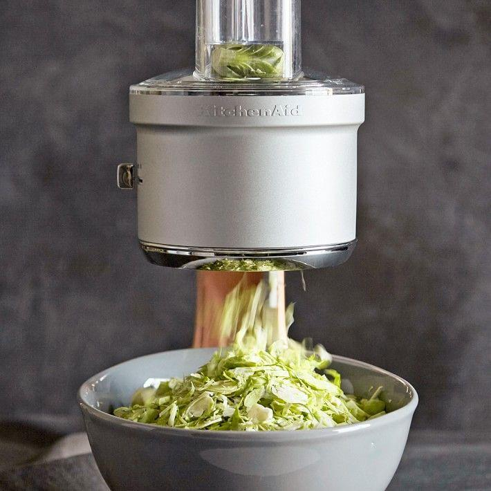 """<p><strong>KitchenAid</strong></p><p>williams-sonoma.com</p><p><strong>$119.98</strong></p><p><a href=""""https://go.redirectingat.com?id=74968X1596630&url=https%3A%2F%2Fwww.williams-sonoma.com%2Fproducts%2Fkitchenaid-food-processor-attachment&sref=https%3A%2F%2Fwww.delish.com%2Fcooking%2Fg4446%2Fbest-food-processor%2F"""" rel=""""nofollow noopener"""" target=""""_blank"""" data-ylk=""""slk:BUY NOW"""" class=""""link rapid-noclick-resp"""">BUY NOW</a></p><p>If you already own a KitchenAid stand mixer, this attachment will allow you to turn it into a food processor. Rave reviews come in for its ability to prep veggies and chop up salad.</p>"""