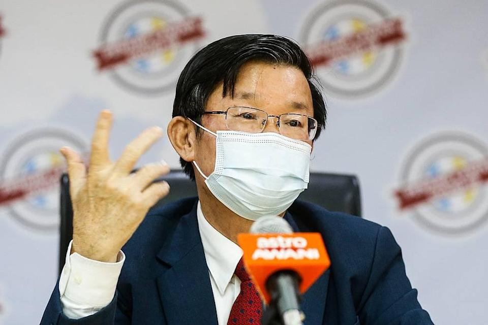 Penang Chief Minister Chow Kon Yeow speaks to the press  during the press conference at Komtar, Penang August 5, 2020. — Picture by Sayuti Zainudin