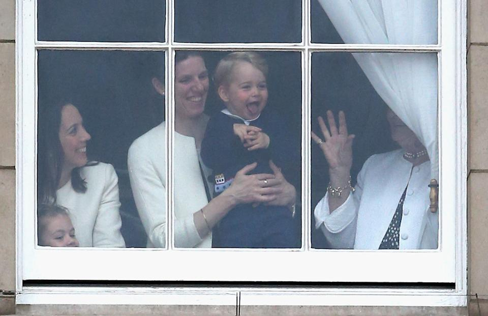 Prince George of Cambridge is held by his nanny Maria Teresa Turrion Borrallo