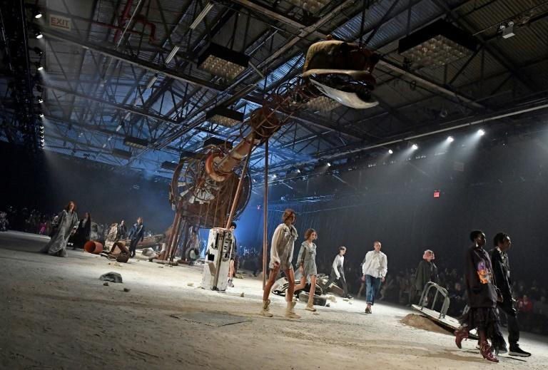 "The set was something out of 1982 science fiction movie ""Blade Runner"" with a dinosaur skeleton-style metal sculpture, and a rusted out Volkswagen Beetle, giving Vevers his trademark contrast between outback and urban grit"